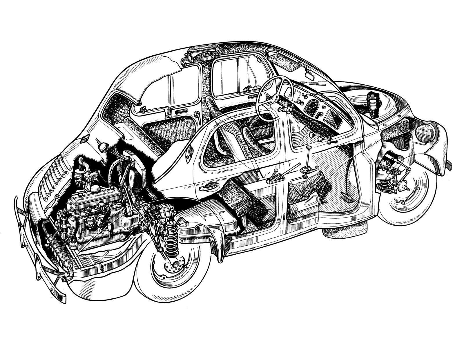 Renault 4cv 1946 1961 dessin renault auto forever - Dessin renault ...
