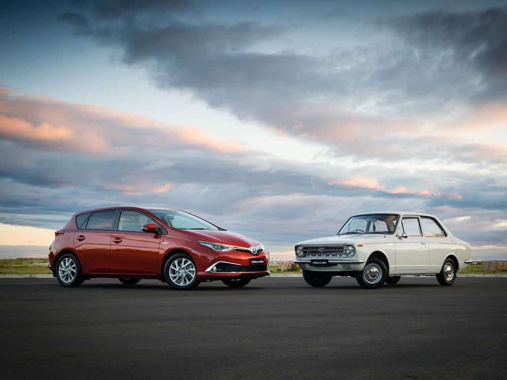 Toyota Corolla 50 ans : Corolla E10 1966 vs Corolla Hatchback E180 2016 - Australie