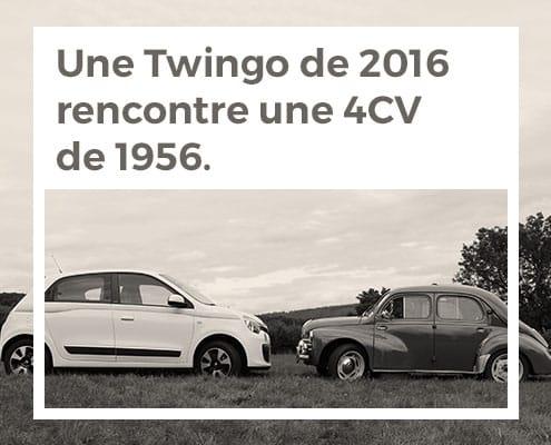 Une twingo de 2016 rencontre une 4CV de 1956